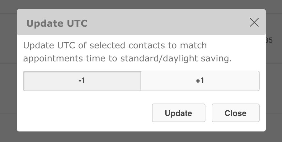 UTC daylight saving appointment offset